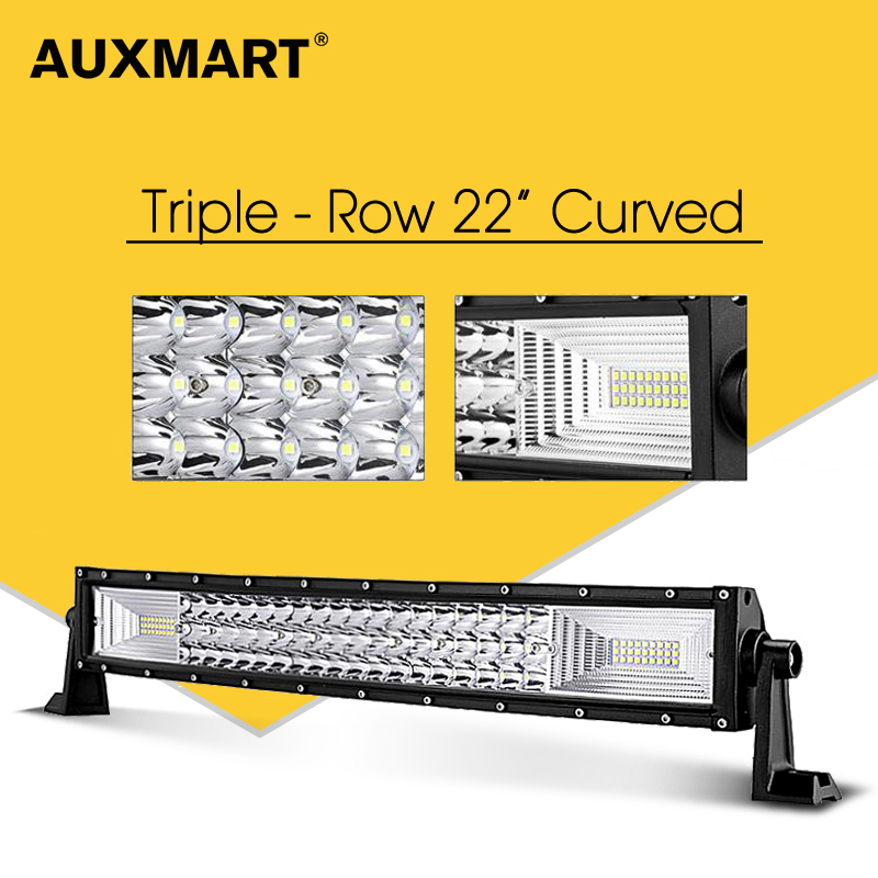 AUXMART 22 Curved LED Light Bar Triple Row Led Chips 324W Combo Camber Offroad Driving Light for Truck Trailer SUV 4X4 12v 24v auxmart triple row 22 34 42 50 curved