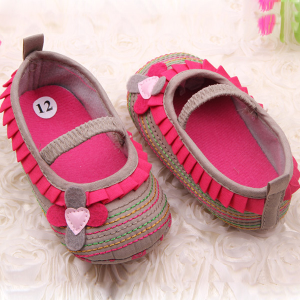 2018Cotton Cloth Four-Flower Baby Shoes Striped Sole Shoes for Kids Cute Toddler Shoes