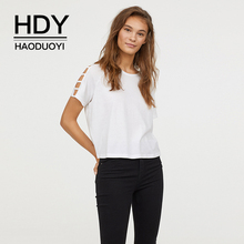 HDY Haoduoyi European And American Simplicity Shoulder Drop Open Connection Easy To Match Round Neck White Short-sleeved Top mock neck crisscross open shoulder top