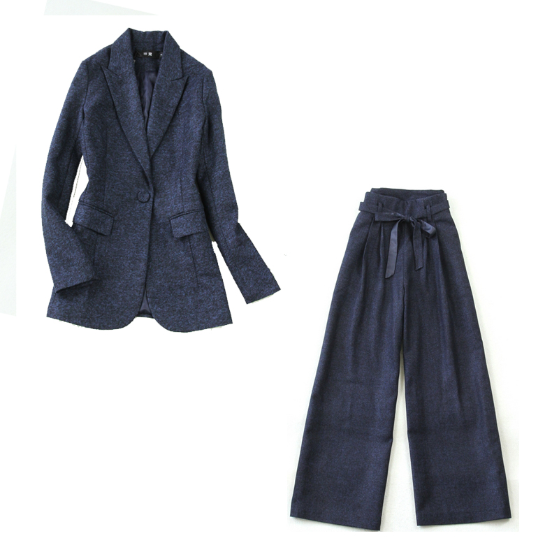 Women's suit set 2019 winter new large size Tibetan blue herringbone Slim long sleeved suit wild high waist wide leg pants suit