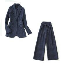 Women's suit set 2019 winter new large size Tibetan blue her