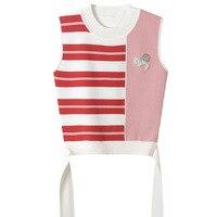 SRUILEE 2018 New Summer Slim Striped Sleeveless Women Tank Tops Lace Up Bow Knit Vest Rhinestones Beading Diamond Tops Runway