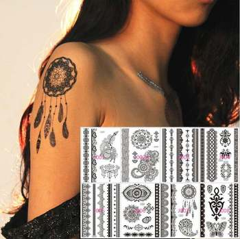 50sheets Black Lace Tattoo Temporary Henna Tattoo Sticker Totem Feather Butterfly Elepant Design Party Tatuagem Free Express