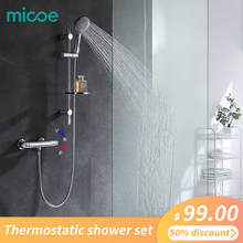 Micoe Thermostatic Bathtub Faucet Bathroom Brass Shower Set 150mm In-wall Mount Hot & Cold Water Temperature Short Mixer hpb brass chrome finished thermostatic bathroom hot and cold water bathtub mixer bath