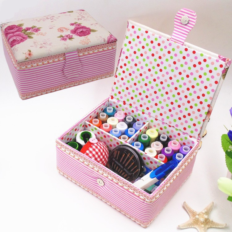 Multifunction pink Cloth Box Sewing Kit Needle Tape Scissor Threads Sewing Box Wedding Gifts For Home & Travelling