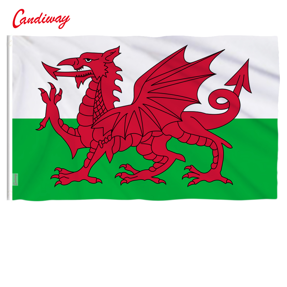 Wales Flag Welsh red Dragon Cymru UK United Kingdom union flag polyester rope toggle Great Britain Banner <font><b>90*150</b></font> NN135 image