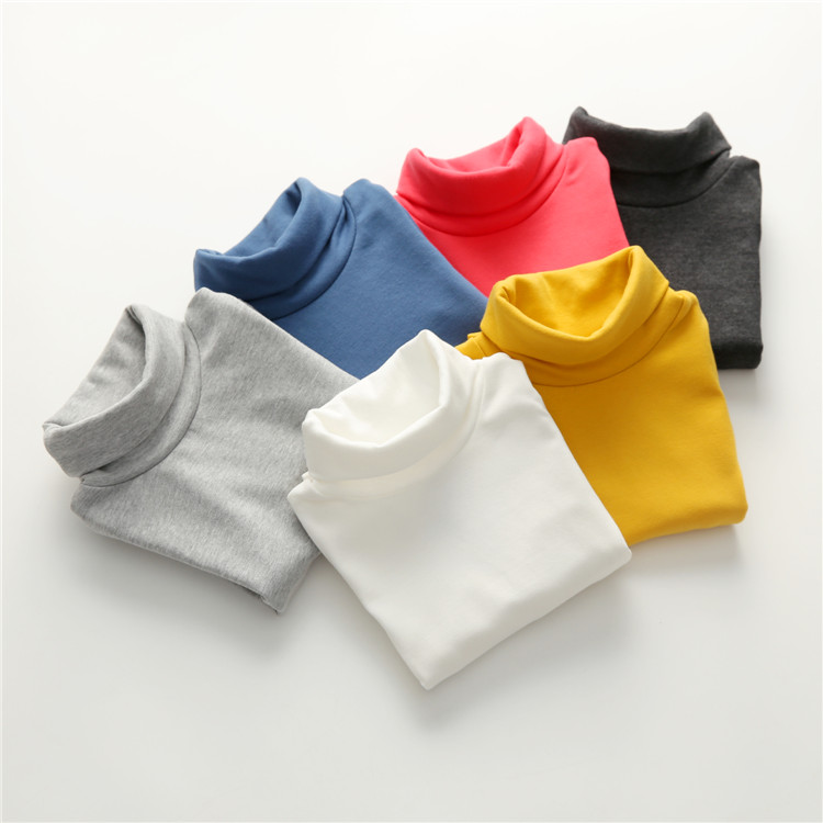 2018 Spring Autumn 2-10T Years Children'S Candy Color Sweet Long Sleeve High Neck Unisex Kids Girl Boy Basic Turtleneck T-Shirt (23)