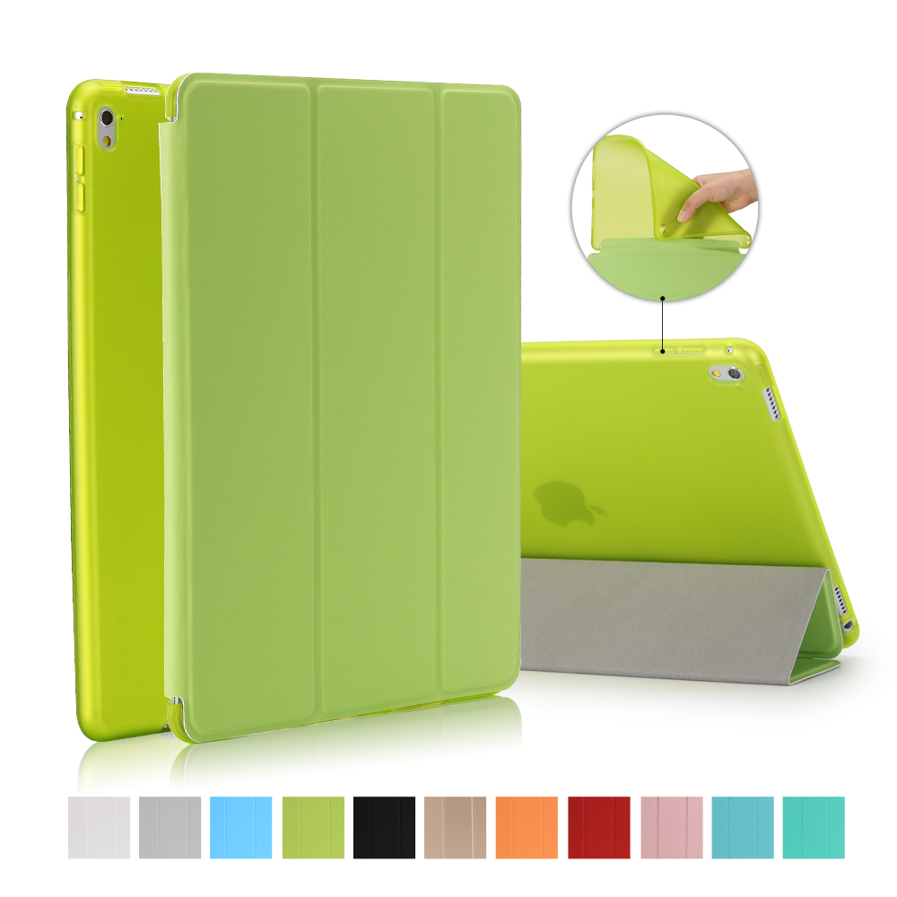 For iPad Air 2 Air 1 Case, Ultra Thin PU Leather+Silicone Soft Back Smart Cover Auto Sleep/Wake Stand for iPad Air / 5  6 Coque