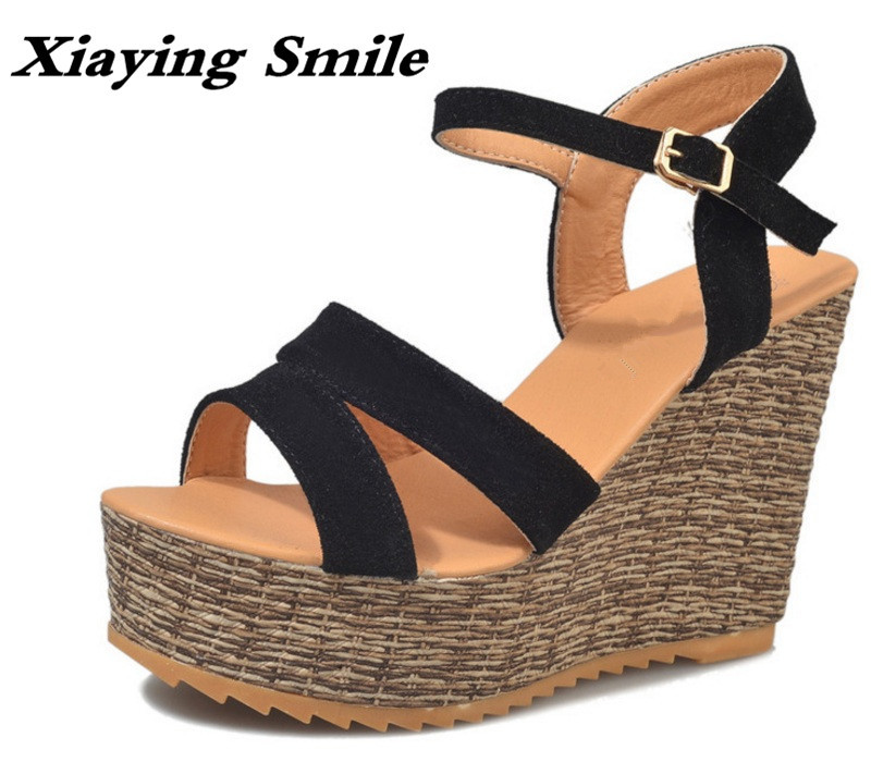 Xiaying Smile Woman Sandals Shoes Women Pumps Summer Casual Platform Wedges Heels Buckle Strap Flock Hollow Rubber Women Shoes xiaying smile new summer woman sandals shoes women pumps platform fashion casual square heel buckle strap open toe women shoes