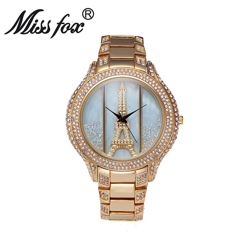 Miss Fox Brand Luxury Fashion The Eiffel Tower Quartz Watches High Quality Women Full Rhinestone Crystal Watches Relojes Mujer