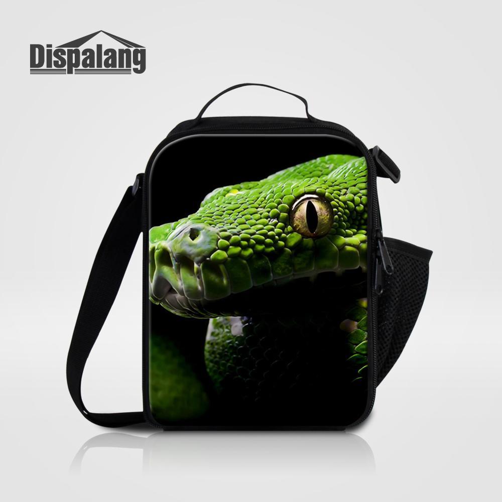 Мужские Термо-холщовые сумки для ланча, лисы, волка, динозавра, змеи, для мальчиков, сумка-холодильник для еды, пикника, Детская маленькая сумка-Ланч-бокс на молнии для школы - Цвет: Lunch Bag04