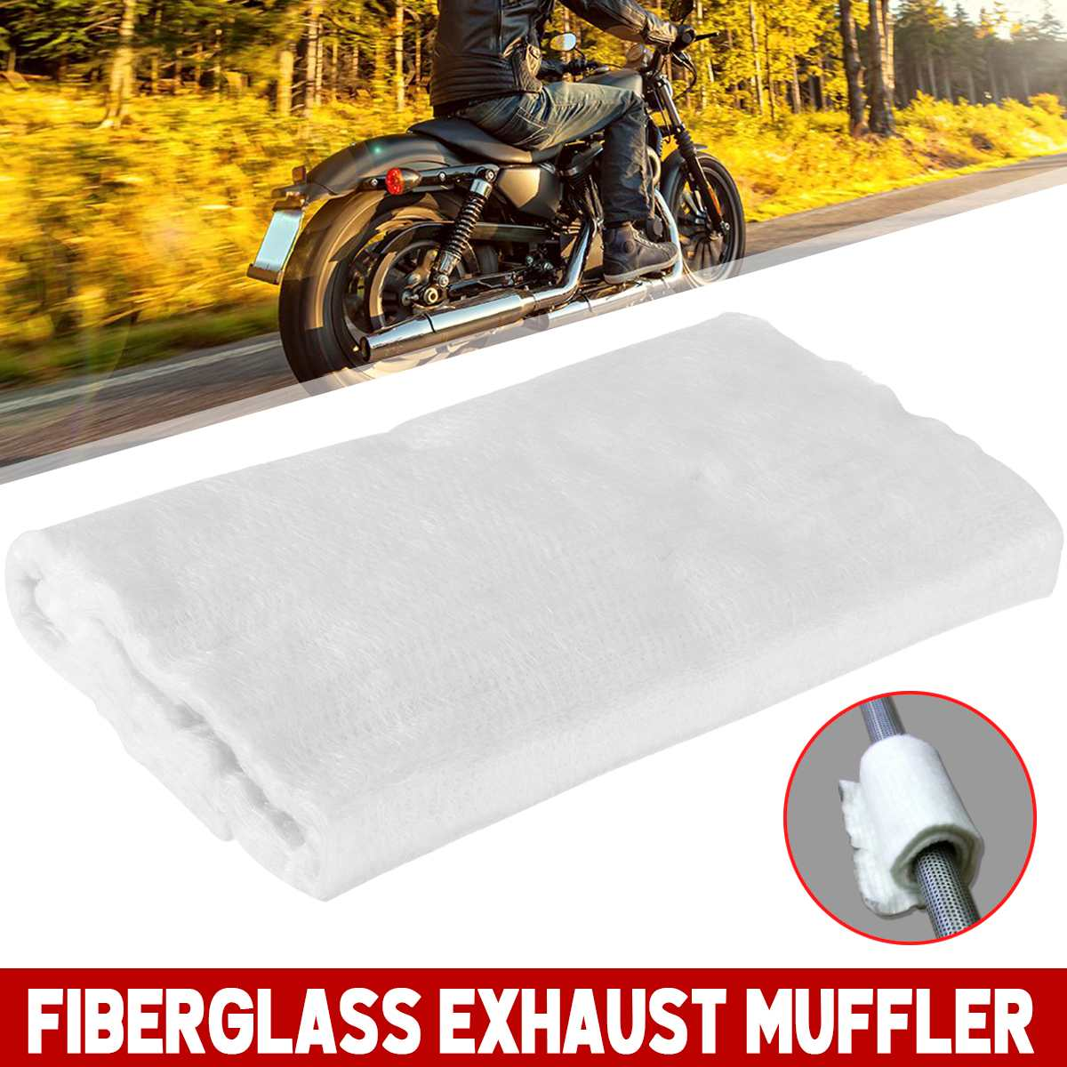 Tubo de Escape de Escape Moto Escape de fibra de vidrio E-Glass Silenciador Silenciador de fibra de embalaje de tela for la motocicleta universal