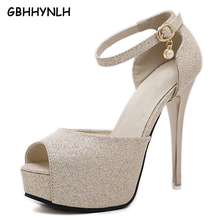 GBHHYNLH silver pumps wedding shoes ankle strap heels platform sandals  party shoes gold sandals high heels jelly sandals LJA245 8bc428098fb3