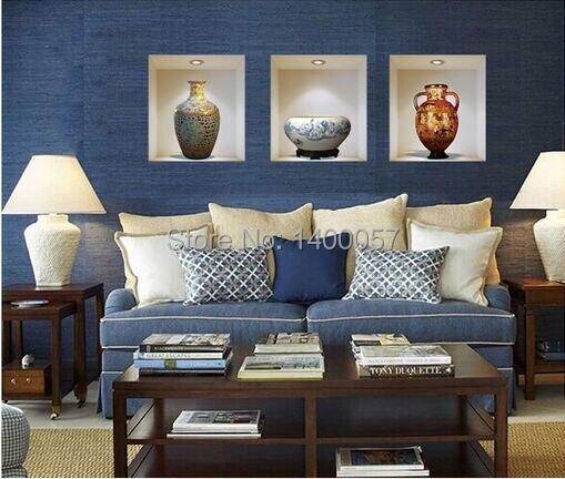 Stile cinese vaso di ceramica vinyl wall stickers home decor ...