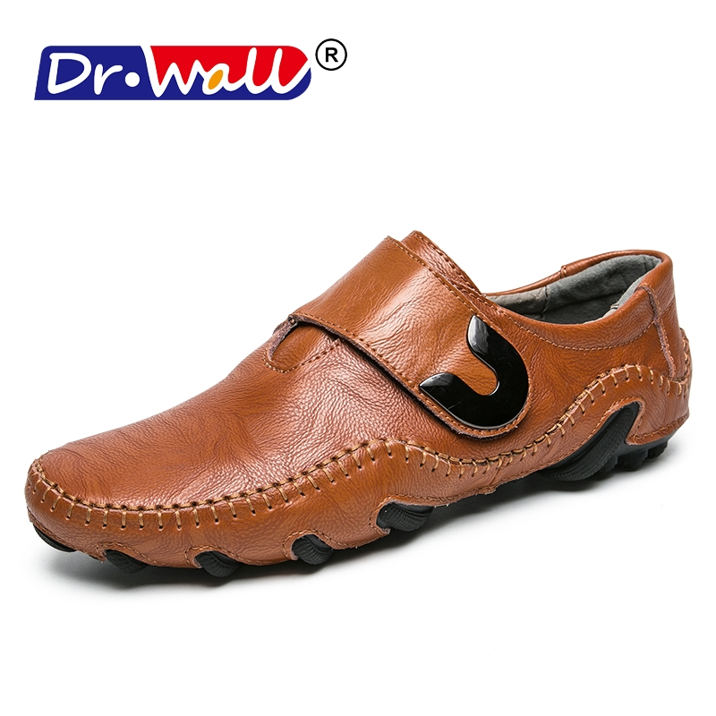 2018 Mens Boat Shoes Man Loafers Genuine leather Men Casual Shoes Flats Rubber Shoes Buckle Strap Round Toe Black/Brown 38-44 foreada genuine leather shoes women flats round toe lace up oxfords shoes real leather casual boat shoes brown pink size 34 40