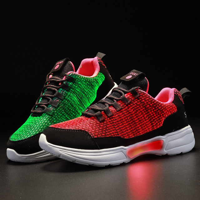 New LED Shoes Fiber Optic Shoes for girls boys men women USB Charging light up shoe for Adult Glowing Running Sneaker 2
