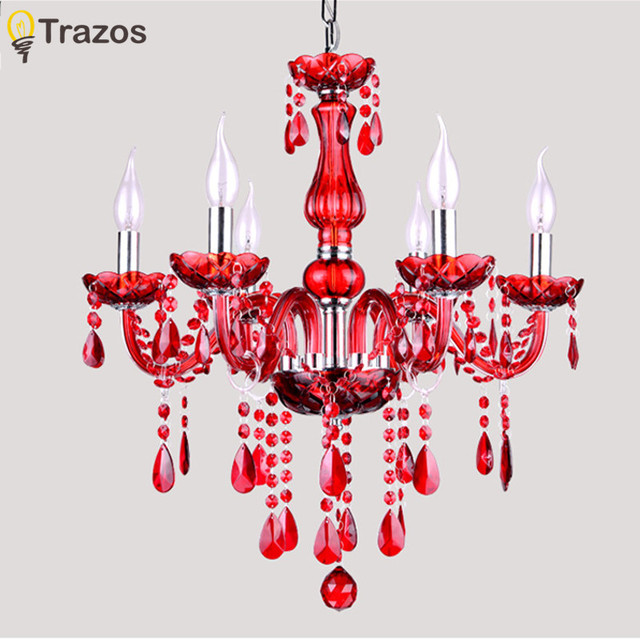 Free Shipping Red Crystal Chandelier 6 Arms Luxury Light Fashion Modern Chandeliers
