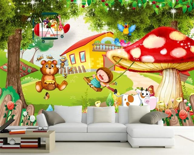 Kinderkamer behang voor muren d paddestoel huis grote boom