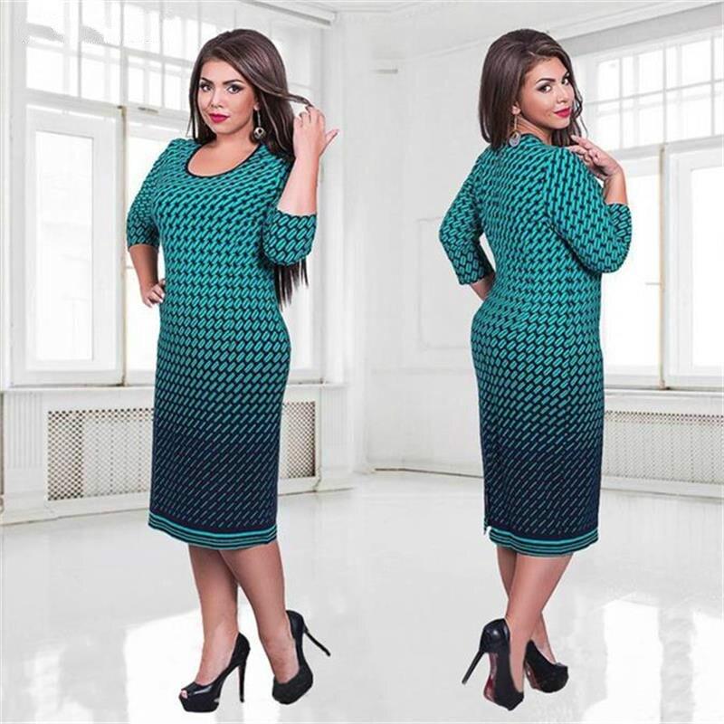 New Autumn Women Dress Printed Bandage Office Dress Plus Size Clothes Women 5XL 6XL Big Size Winter Dress robe femme ete 2017