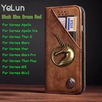 YeLun Retro For Vernee Mix2 M5 Thor Plus Thor E Mars Cover Unicorn Wallet Flip PU