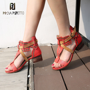 Prova Perfetto genuine leather mixed color T strap belt buckle sandal rivet ring stud chunky heel causal women gladiator sandals