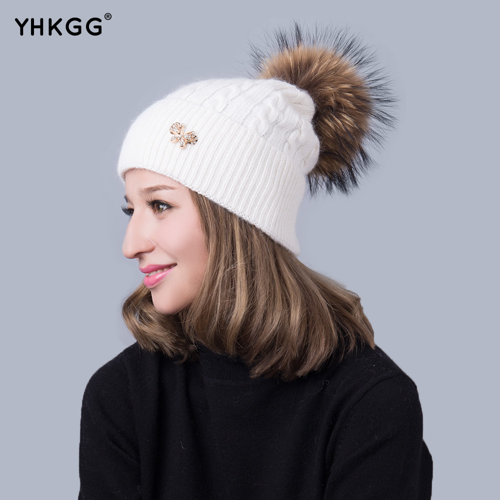Apparel Accessories Winter Red Removable Fox Bobble Hat For Women Warm Knitted Beanies With Fur Pom