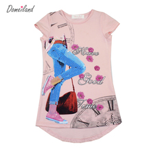 2017 Fashion summer domeiland brand clothes Children clothing print floral kids Girl short Sleeve T-Shirts baby Cotton Tops