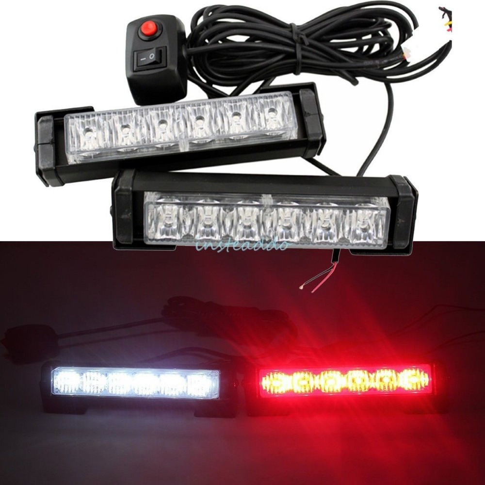 CYAN SOIL BAY 2x 6 LED Car Grille LED Emergency Beacon Light Bar Hazard Strobe Warning Red White