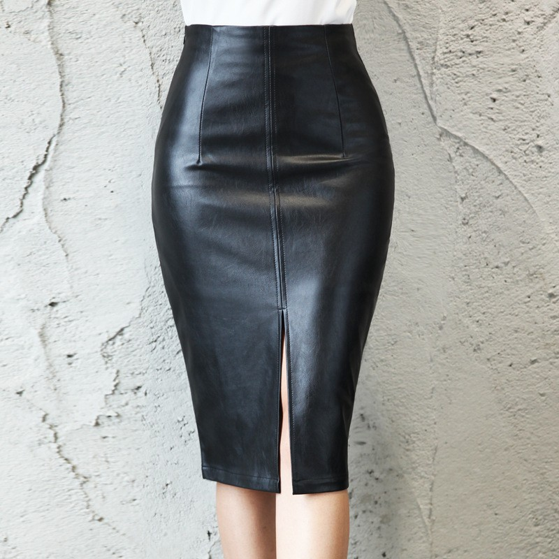 Elegant Black Bodycon Leather Split High Waisted Knee Length Pencil Skirt