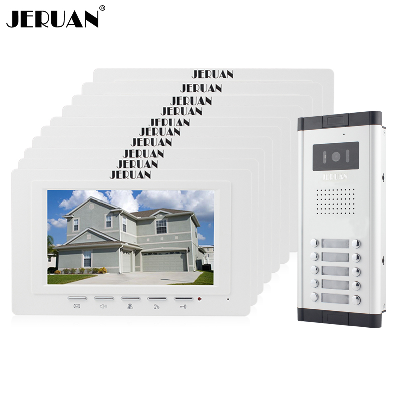 JERUAN Apartment Doorbell intercom 7 inch LCD video door phone intercom system 10 Monitor 700TVL IR Camera for 10 Call button jex 10 inch lcd video intercom doorphone doorbell speaker intercom system kit 4 monitor 700tvl ir camera 1v4 in stock