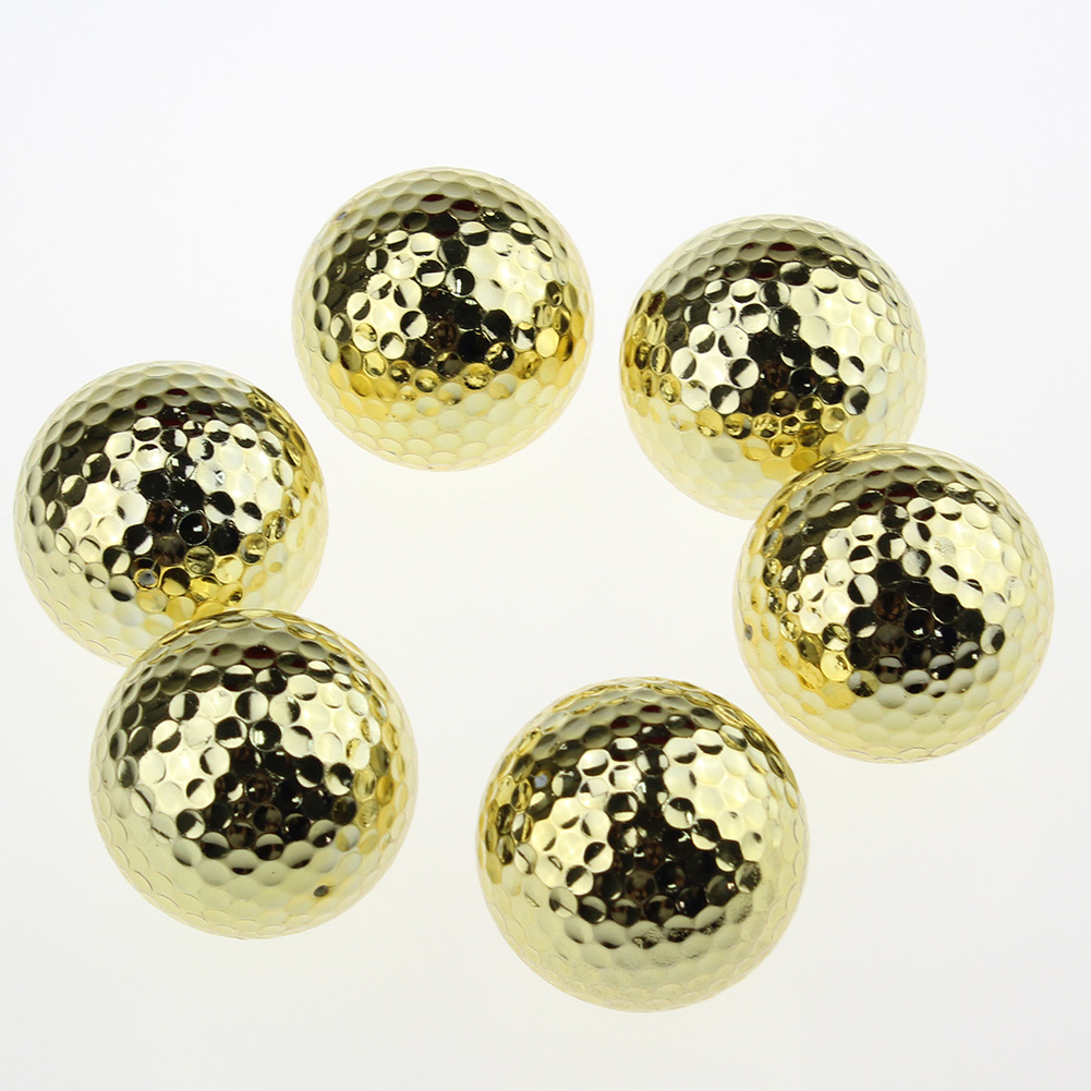 Two Layer Golden Golf Balls Golf Practice Balls Traning Golf Gift 6ps/pack free shipping