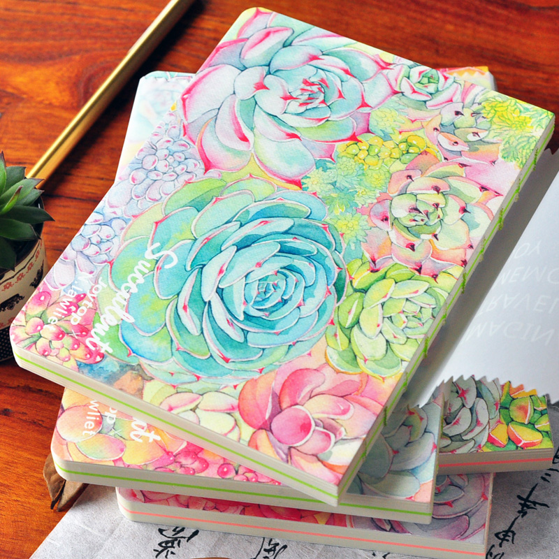 2017 13*18 cm Blank Plain Notepad Notebook Diary Fleshiness Plant Printing Note Book Agenda Journal Planner Stationery a5 secret diary book restoring vintage notepad high end notebook notebook agenda journal school office student stationery supply