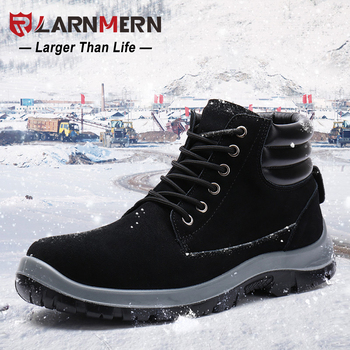 LARNMERN Winter Warm Safety Shoes Men Military Snow Steel Toe Boots Special Force Tactical Desert Combat Ankle Boats Footwear