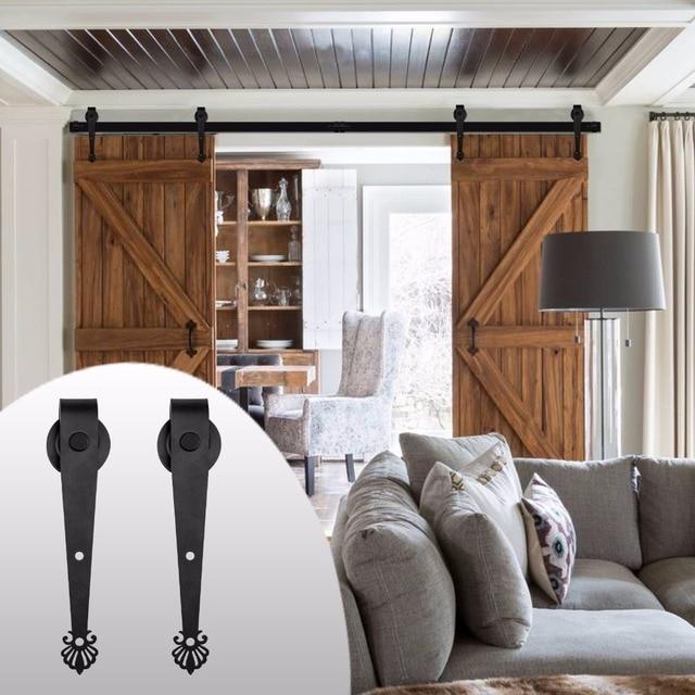 LWZH Country Style 14FT/15FT Black Steel Sliding Closet Door Crown Shaped  Wood Sliding Hardware