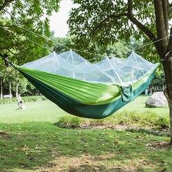 낙하산 직물 해먹 2 사람 휴대용 모기장 해먹 캠핑 hamak 여행 잠자는 침대 정원 스윙 야외