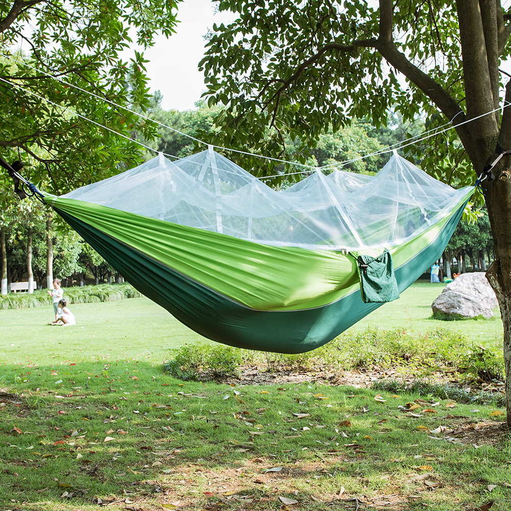 Parachute Fabric Hammock 2 Person Portable With Mosquito Net Hammock Camping Hamak Travel Sleeping Bed Garden Swings Outdoor