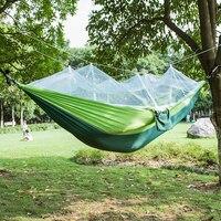 Tecido de parachute hammock 2 pessoa portátil com rede mosquito hammock acampamento hamak viagem dormir cama jardim balanços ao ar livre|Redes|Móveis -