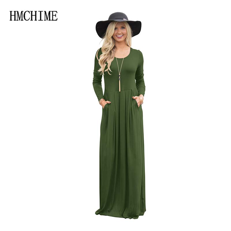 8 colors 5 size Fashion sexy women dress with pocket on side round collar long sleeve pure color elastic waist dresses ZB-A127