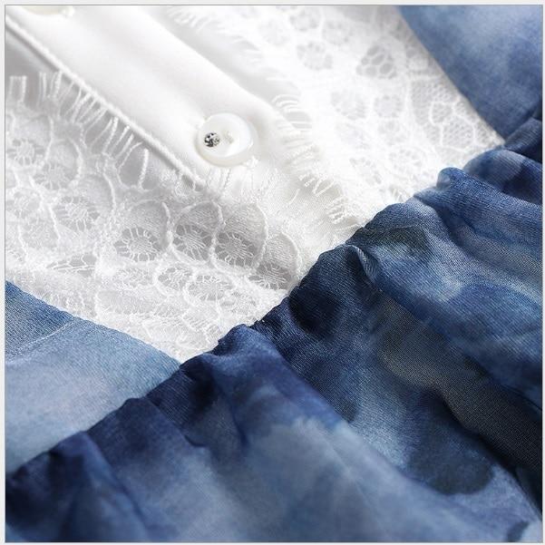 2018 D'été Trois Manches Bleu 1711607 Blanc Robe Feminina Poitrine Robes Femmes Patchwork Dentelle Trimestre Col Mini qx5AHxw