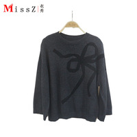 Новый томный серым свитер женский пуловер Рог рукава Широкий Бант кашемировый свитер блузка