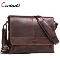 Contact S Genuine Leather Bag Men Shoulder Bag Messenger Bag Men Leather Handbag Male Cross Body