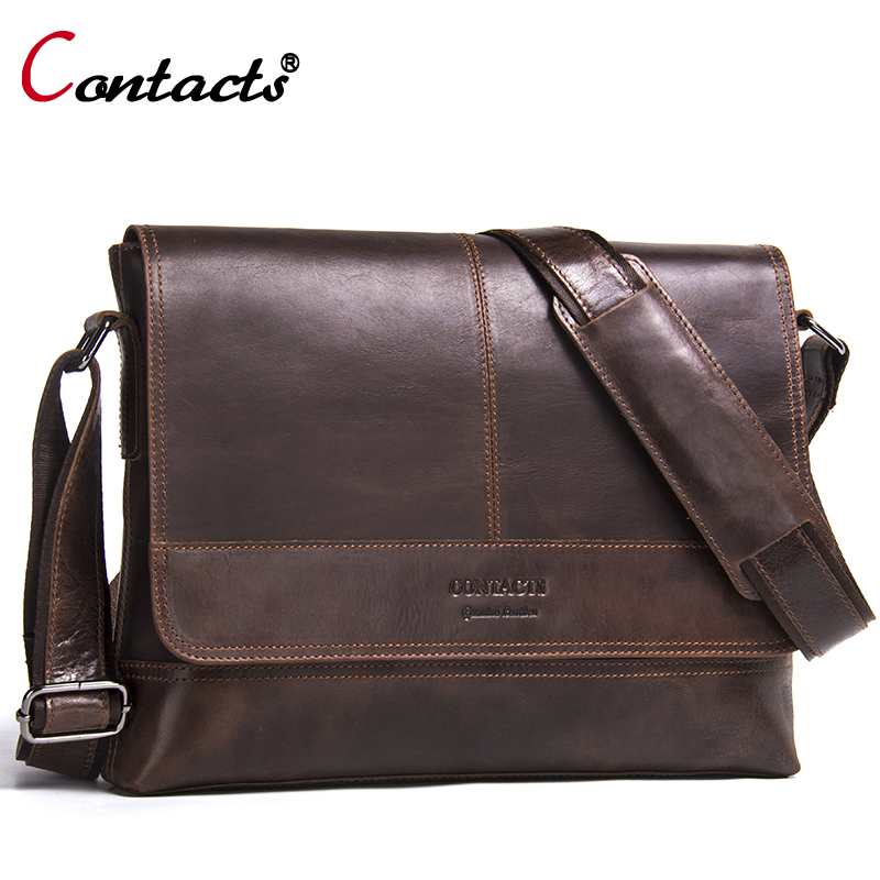 Contact's Genuine Leather Bag Men Shoulder Bag Messenger Bag Men Leather Handbag Male Cross Body Bag Travel Vintage Famous Brand high quality authentic famous polo golf double clothing bag men travel golf shoes bag custom handbag large capacity45 26 34 cm