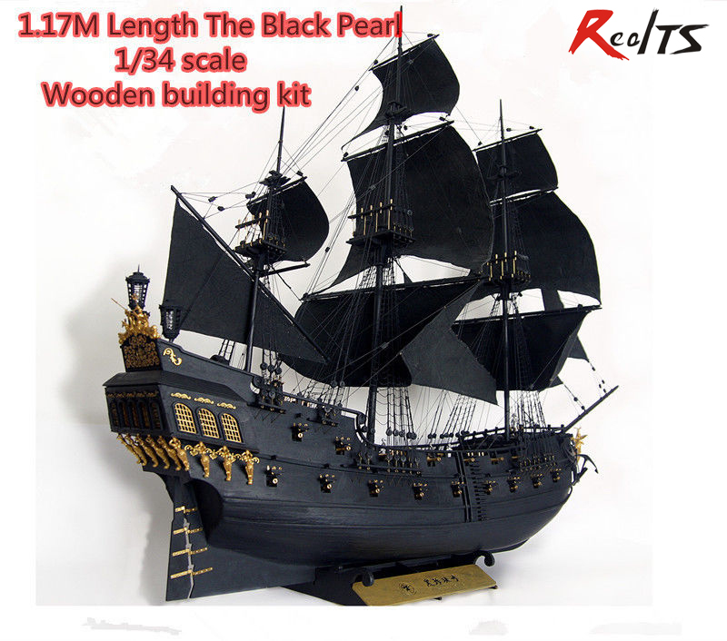 RealTS New version Classical wooden sailing boat 1/34 black pearl Pirates of the Caribbean wood model kit with english manual цены онлайн