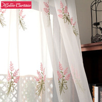 Korean Style Embroidery White Tulle Linen Sheer Curtains For Living Room Pink Pattern Voile Door Curtains Window Treatments