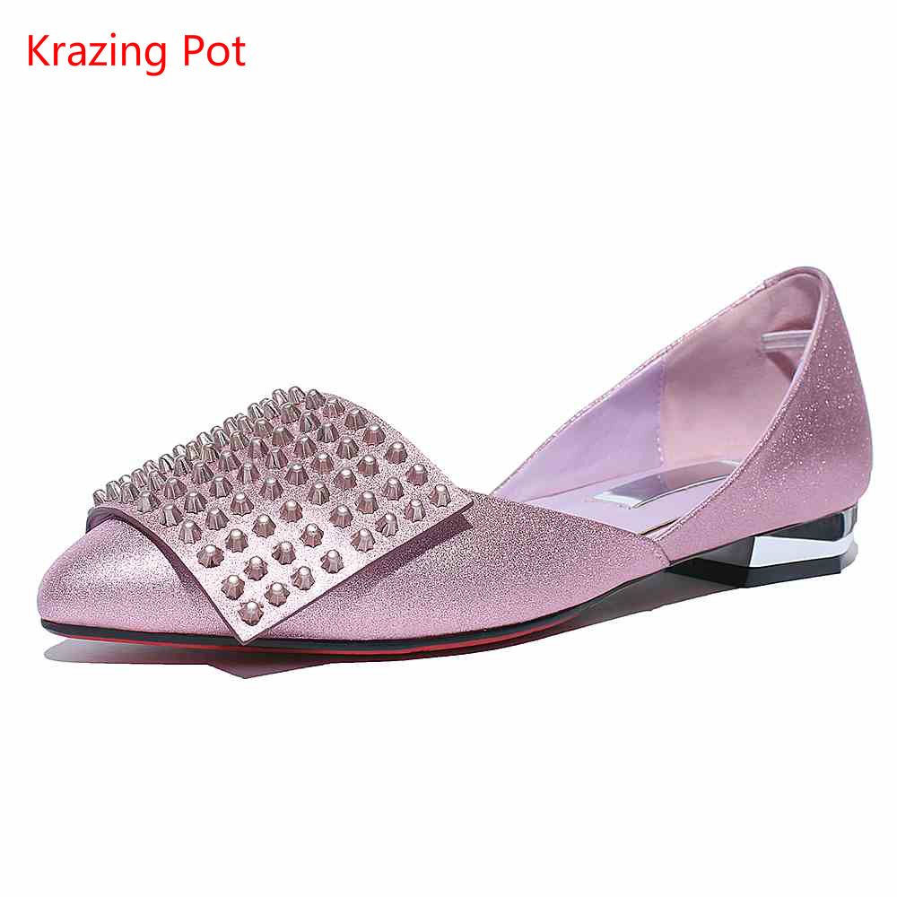 2017 New Retro Square Buckle Bling Style Solid Color Star Low Heel Pointed Toe Genuine Leather Two-piece Rivets Women Shoes L13 women genuine leather sandals fashion pointed toe causal shoes buckle solid color black pink orange spring shoes square heel