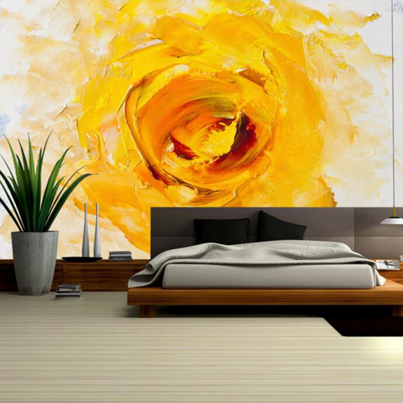 Abstract Yellow Wall Decor Large Wall Art Flower Wallpaper for Home Girls Bedroom Wall Art Photo Mural House Wallpaper Wall Art customized home personalized seamless integration of the abstract paintings lotus wallpaper 1x3m