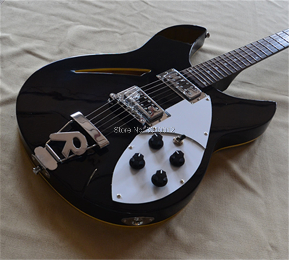 Factory Semi hollow Black Electric Guitar with 6Strings 3 Pickups Chrome Hardware White Pickguard Can be Customized in Guitar from Sports Entertainment