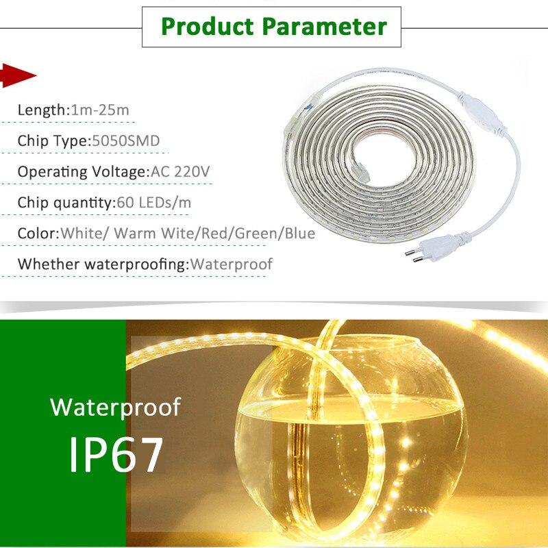 1Set LED Strip Light 5050 SMD AC220V Vattentät Silikonrör 1M / 2M / - LED-belysning - Foto 6