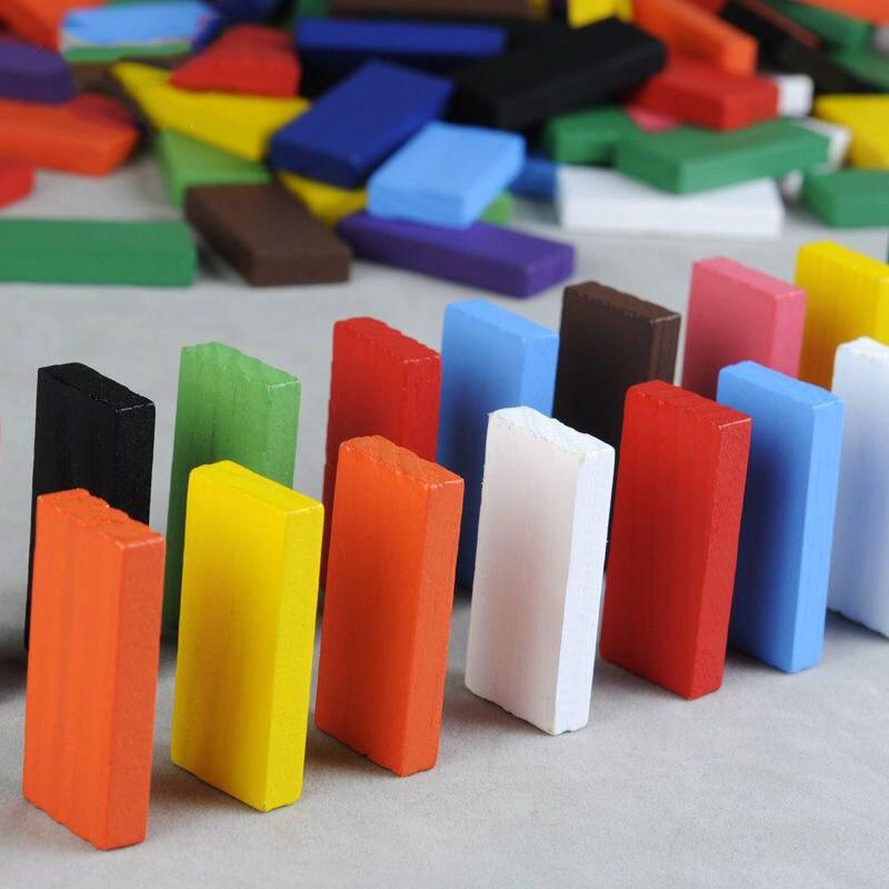 120 Stücke Kinder Holz Regenbogen Domino Blöcke Pädagogisches Spielzeug/kinder Holz Bunte Dominosteine Block Set Frühe Lernen Spielzeug Domino Sammeln & Seltenes