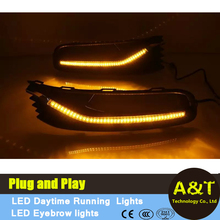 A&T Car Styling LED Daytime Running Lights led Fog Light For Volkswagen Polo led DRL 2014 2015 Auto Accessories with turn signal